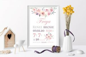 Personalised-Baby-Nursery-Decor-Wall-Art-Print-Birth-Announcement-Floral-A4