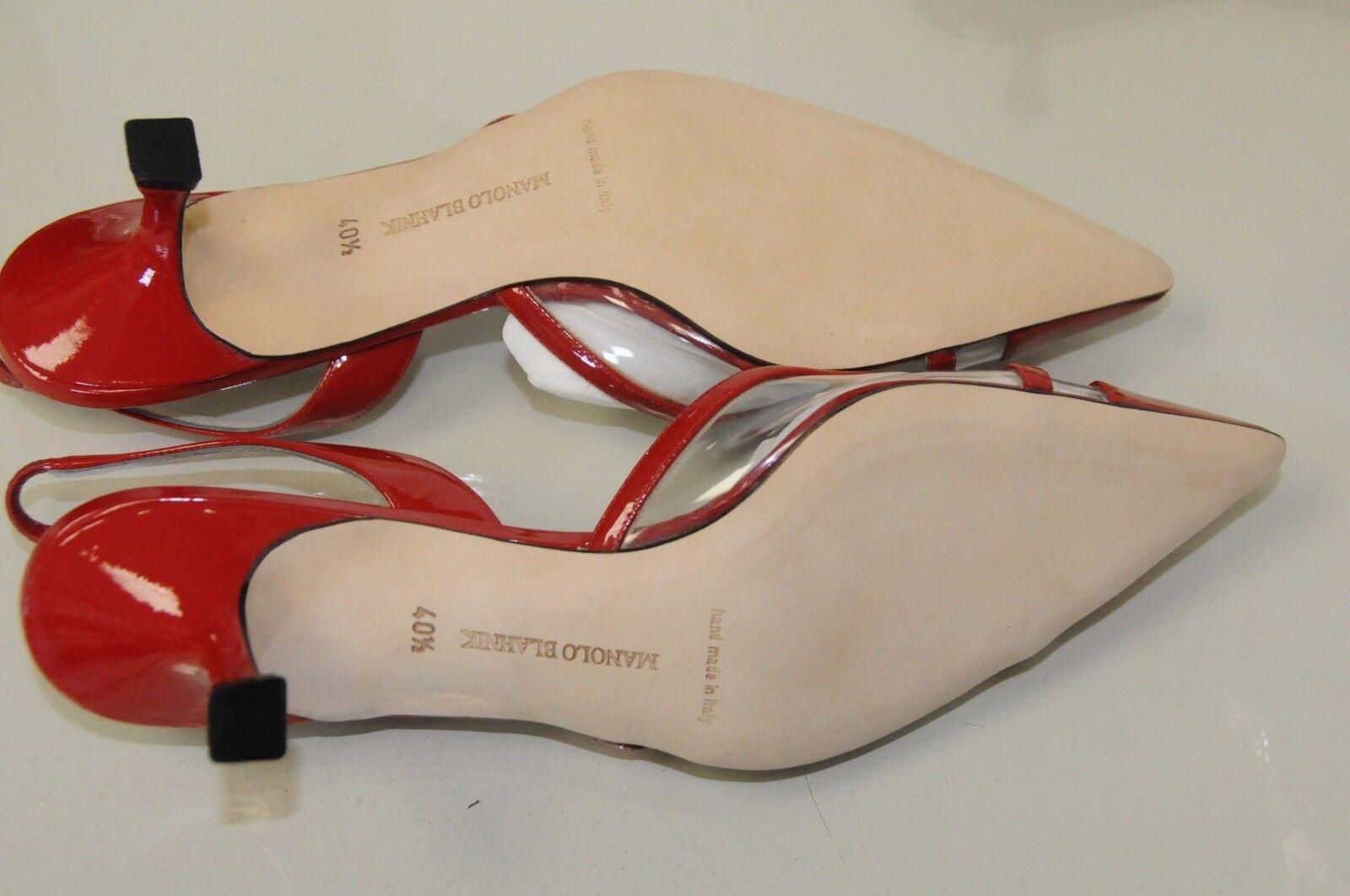 New MANOLO Red BLAHNIK Carolyne Red MANOLO Patent PVC Kitten Heels SHOES 36 38 40 28a891