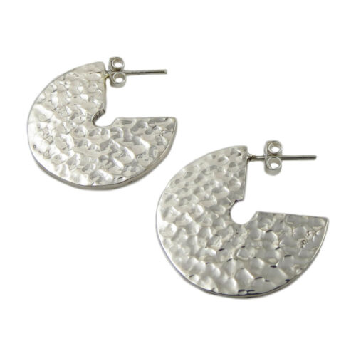 Hammered Circle 925 Sterling Silver Earrings in a Gift Box