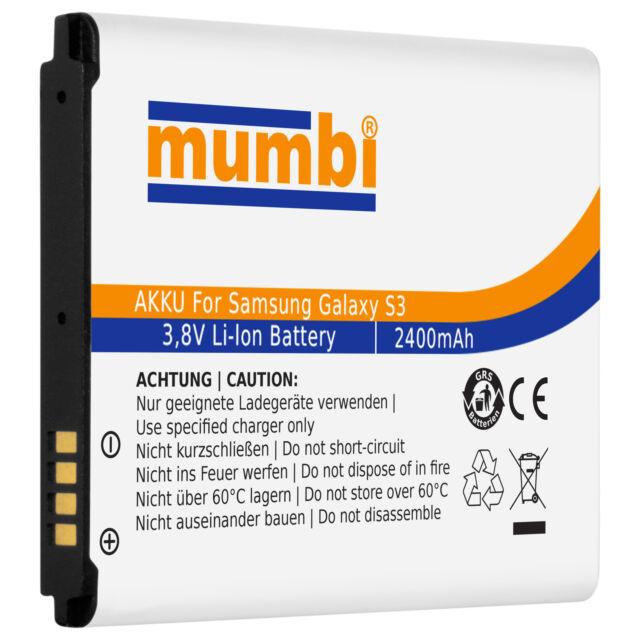 mumbi Ersatzakku Akku für Samsung Galaxy S3 Li-Ionen 2400 mAh ohne NFC