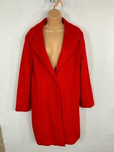 WOMENS-BHS-BRIGHT-RED-SMART-CASUAL-LONG-WINTER-OVERCOAT-JACKET-PLUS-SIZE-18