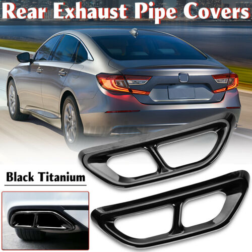 2X Titanium Rear Cylinder Exhaust Pipe Tip End Cover Trim For Honda Accord 2018+