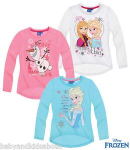 7c5424257 Girls FROZEN ''Elsa'' ''Anna&Elsa'' ''Olaf'' Long Sleeve T-Shirt Top ...