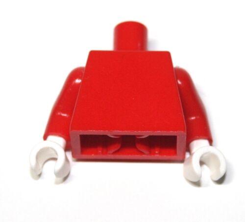 1x LEGO® Torso Körper Blank Plain Unbedruckt 973c31 NEU Rot Hände Weiss
