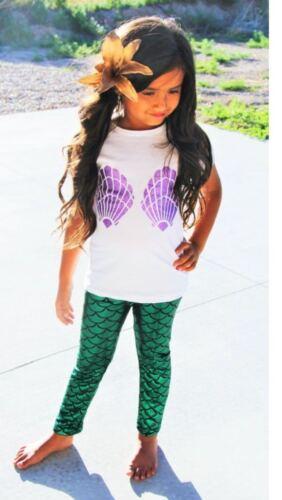 Kids Mermaid Fish Scale Legging Mother /& Daughtes Shiny Disco Leggings