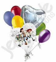 7 Pc Toy Story Gang Clearly Love Balloon Bouquet Party Decoration Disney Silver
