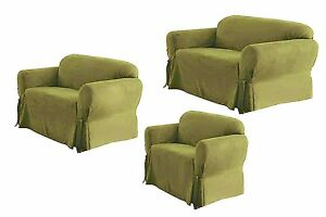 Details about SOLID SUEDE Couch Covers 3 Piece Sage color slipcover Set =  Sofa Loveseat Chair