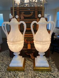 MCM-1950s-Vintage-Pair-Alabaster-Table-Lamps-Standing-44-Tall-Excellent