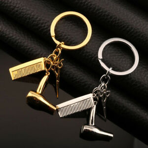 New-Hair-Dryer-Scissors-Comb-Keychain-Hairdresser-Accessories-Gold-Silver