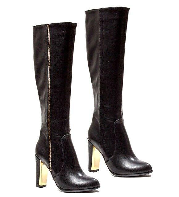 Lady Couture Rhinestones Knee High Boots Chunky Heel Heel Heel Women's shoes Classy fdb316