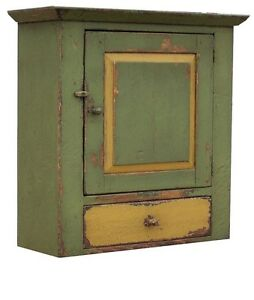 Image Is Loading PAINTED PRIMITIVE DISTRESSED HANGING RUSTIC WALL CUPBOARD  CABINET