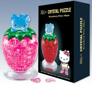 3D Crystal Puzzle Jigsaw 46 pcs Strawberry Hello Kitty Model PINK
