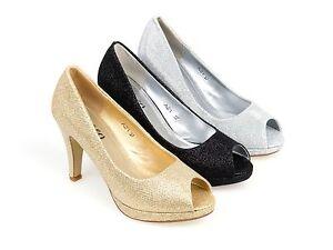 Mujer Damas Tacón Alto Peep Toe Platform Brillo Tribunal Fiesta Zapatos