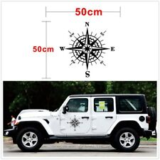 Hood Car Sticker Black Compass Totem Box and Needle 50x50cm Vinyl Bonnet Decal