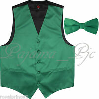 Emerald Green Solid Tuxedo Suit Vest Waistcoat And Straight Cut Bow Tie Wedding