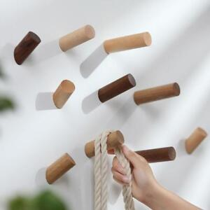 Natural-Walnut-Wooden-Wall-Hook-Peg-Hat-Coat-Hanger-Hallway-Home-Storage