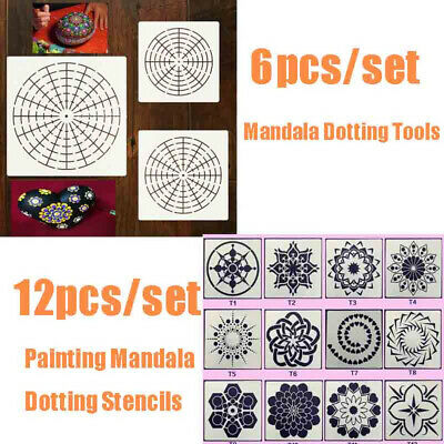 12Pcs Painting Mandala Dotting Stencils Template For Wall Floor DIY Decor Craft