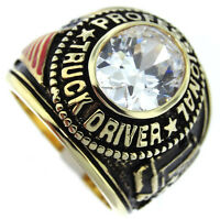 Mens Truck Driver Simulated Diamond 18kt Gp Ring