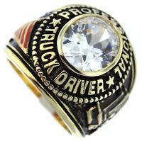 Mens Truck Driver Simulated Diamond 18kt Gp Ring