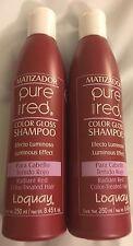 (2)Matizador PURE RED Premier LOQUAY Color Gloss Shampoo Cabello Tenido Rojo 8.4