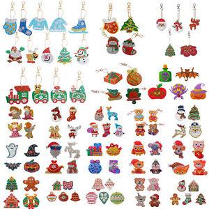 Christmas 5D DIY Full Diamond Painting Key Chains Keyring Handmade Keychain