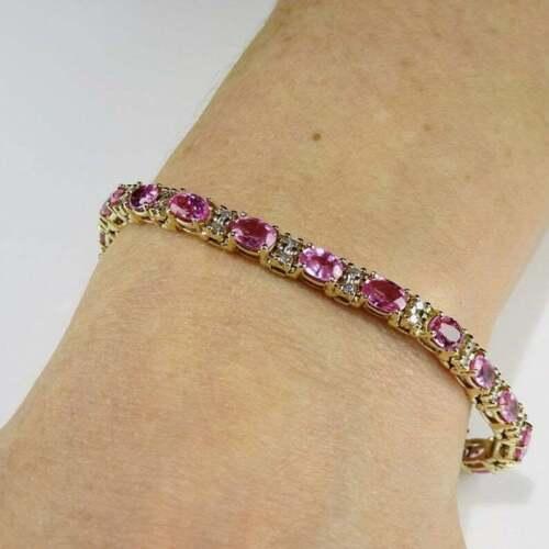 12Ct Oval Cut Pink Sapphire /& Diamond Tennis Bracelet 14K Yellow Gold Over
