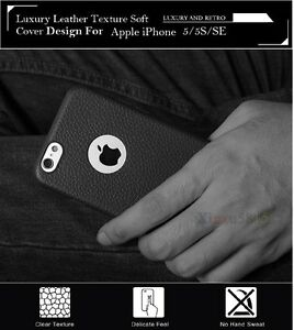 Luxury-Leather-Texture-Soft-TPU-Slim-Back-Case-Cover-For-Apple-iPhone-5-5S-SE