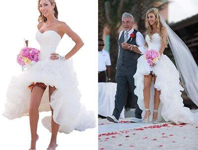 Hi Low Short Beach Wedding Dress Strapless Boho Bridal Gown Summer Plus  Size | eBay