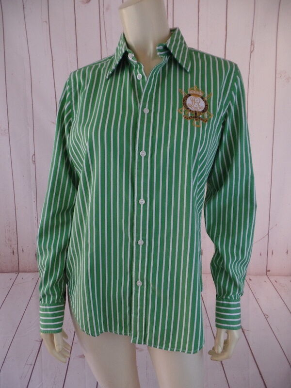 Ralph Lauren Sport Top 12 (Runs Small) Green White Striped Cotton Button Front