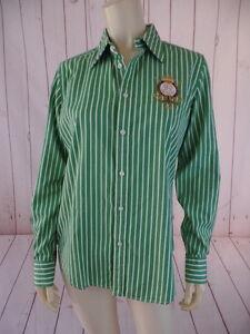 Ralph-Lauren-Sport-Top-12-Runs-Small-Green-White-Striped-Cotton-Button-Front