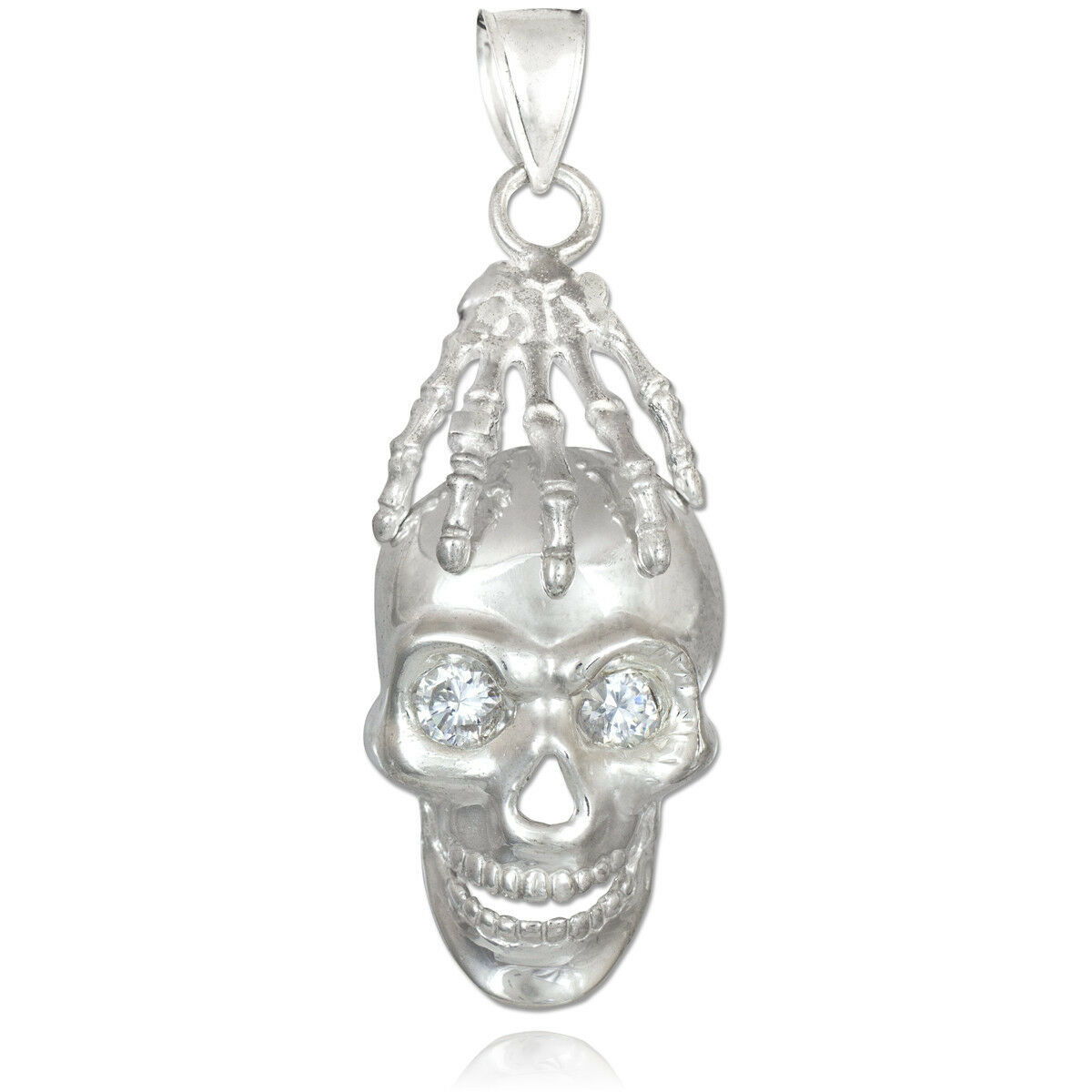 Solid White gold Zombie Skeleton Hand on Undead Gothic Skull Pendant Made in USA