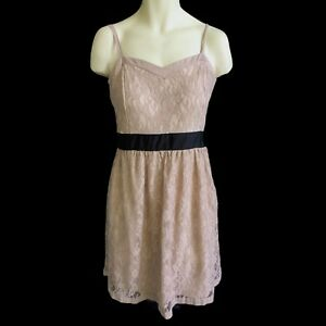 Tan Lace Party Dress Size 16 Fit Flare Spaghetti Straps