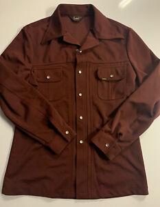 vintage 70s lee pearl snap western shirt size large