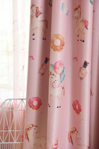 Unicorn Candy Blockout Eyelet Curtains Set Girls /& Boys Childrens Kids Room