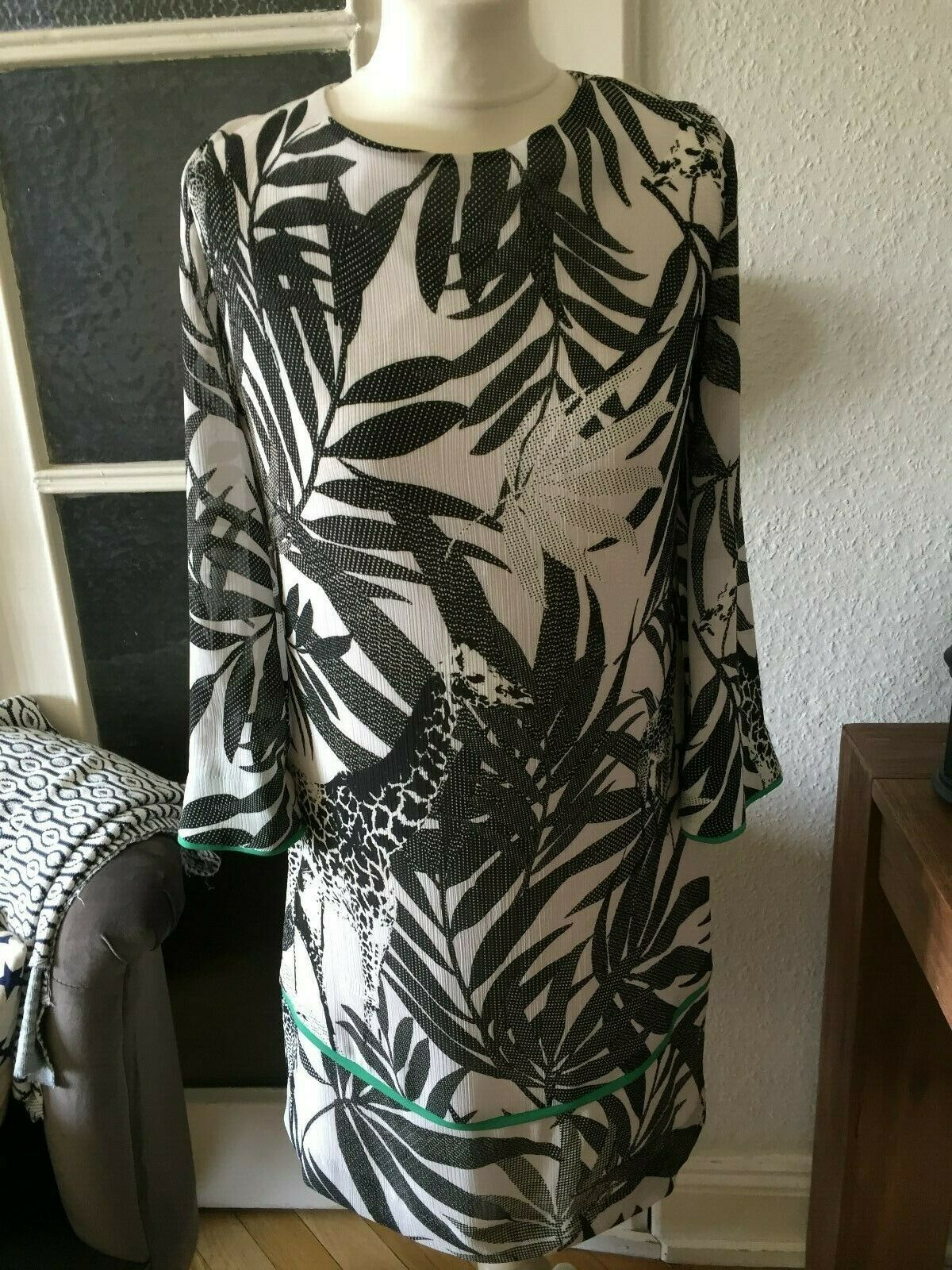 Ana Alcazar Kleid Printkleid schwarz weiß grün Gr. 36 neu
