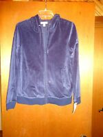 Lord And Taylor Velour Navy Zip Jacket S Small