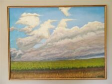 """HUGE Vintage Painting On Canvas """"Oncoming Storm"""" by Illegible"""