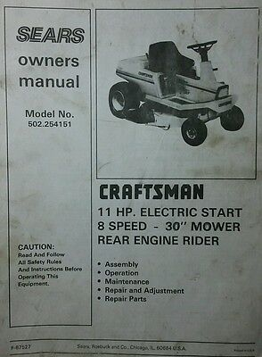 Sears Craftsman Rer Riding Lawn Mower Owner Service