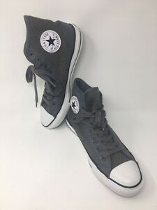 Converse-All-Star-Chuck-Taylor-Hi-Top-Canvas-leather-Gray-Sneakers-Mens-Sz-7-new