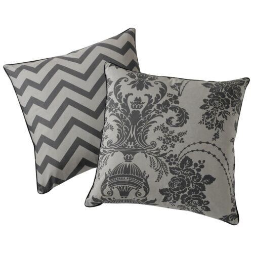"Luxury Damask Cushion Cover Reversible Chevron Printed Charcoal /& Black 18""x18"""