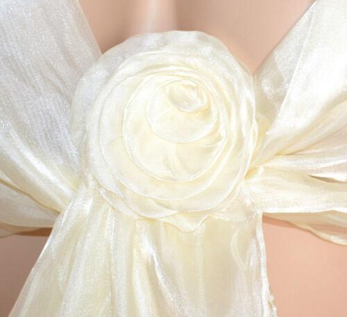 STOLA AVORIO coprispalle donna foulard seta scialle cerimonia elegante F750