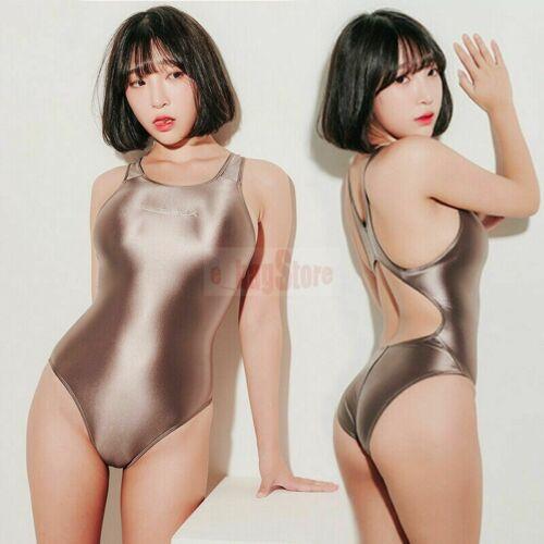 LEOHEX Damen Bademode Satin Glossy Body Suit Hoch geschnittene EinteilerBademode
