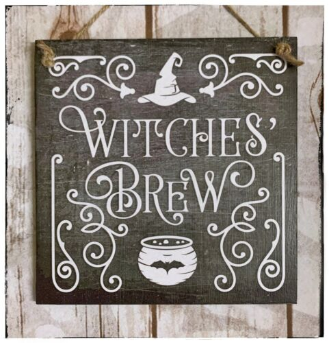 Wall hanging sign//picture Halloween Witches Brew Caldron Scary Spooky