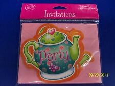 Tea for You! Girls Cute Kids Birthday Tea Party Die-Cut Invitations w/Envelopes