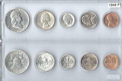 1952-S U.S Silver Mint Set 5 Brilliant Uncirculated coins in Whitman holder