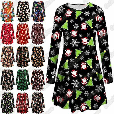 Uk Plus Size New Ladies Santa Xmas Tree Print Christmas Skater Party Swing Dress Grade Produkte Nach QualitäT