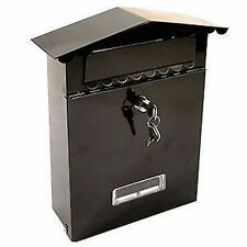 BLACK POST BOX LETTER BOX MAIL BOX WALL MOUNTED WITH 2 KEYS SECURE LOCK SYSTEM