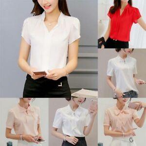 Short-Sleeve-Women-Loose-Fashion-T-Shirt-Chiffon-Top-Shirt-Ladies-Summer-Blouse