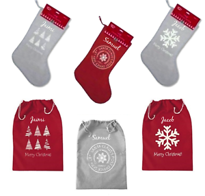 Grey Christmas Stockings Personalised.Details About Large Christmas Stocking Or Sack Personalised Red Or Grey Hessian Vintage Style