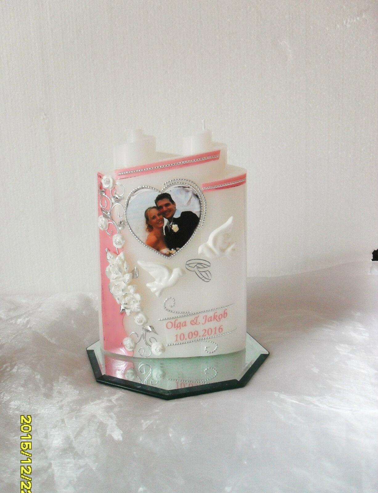 mit  Foto 3D Rosen modern♥Hochzeitsgeschenk Traukerze ♥♥ Hochzeitskerze